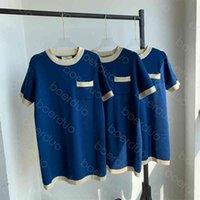 Повседневные платья женская одежда длинная юбка свитер обычный с коротким рукавом высокое качество моды контрасный воротник вышивка вышивка тонкий синий вязание азиатский размер m-xl