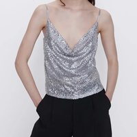 Bras Set Donne Argento Silver Shinny Sequined Za Sling Tops Femmina Sping Maglia Sexy Camis Solid Bling-Bling Breve Femme WS64