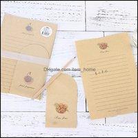 Упаковочная школа Бизнес Промышленные2 Сумки (6 Конвертов + 12 Бумага для буквы) Kawaii Кактус Конверт Крафт-бумага для приглашений Симпатичные Office St