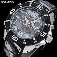 Наручные часы военнослужащие спортивные часы для верхней марки BOAMIGO мужской кварцевый светодиодный цифровой водонепроницаемый Relogio Masculino