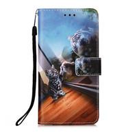 3D окрашенные печати зеркало зеркала кошка флип книги держатель карты телефона чехлы кожаный кошелек для Samsung A20 A30 S20 S20 S10 NOTE10 NOTE20 чехол крышка