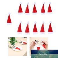 Christmas Decorations 11 Pcs Decorative Mini Santa Hats Forks Bag Tableware Knife Storage Tool Hat Cover1