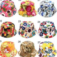 Kids Summer Canvas Bucket Hat Fisherman Cap Topee Outdoor Travel Casual Sunhat Floral Grid Print Beanie Hat Folding Fishing Cap 30 Colors G49T0TR