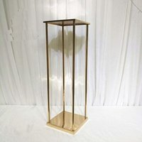 Decorazione del partito 10 PZ Square Wedding Metal Gold Flower Vase Column Stand per Centerpiece YUDAO1080