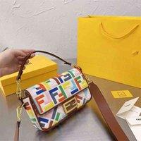 Handtasche Fend F Baumwoll- und Hanfstickerei-Buchstaben-Methode Stick Bag Portable Messenger Eine Schulter Frauen Tasche Zwei Riemen Geschenkbox Verpackung Zly