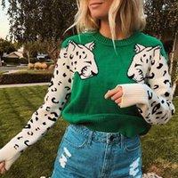 Nuovo maglione per le donne a contrasto colore mosaico modello leopardo camicia a maniche lunghe da donna a manicotto da donna a manicotto casuale o-collo autunno