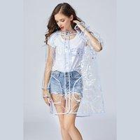 여성을위한 슈퍼 투명한 비옷 패션 에바 방수 비 폰 쵸 코트 재사용 가능한 섹시한 비옷