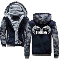 Sweatshirts Carp Fishing Animal Men Hoodies Male Warm Thick Velvet Solid Sweatshirt Tracksuit and Jacket S7s4