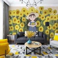 Wallpapers Milofi 3D Custom Wallpaper Small Fresh Sunflower Girl Children's Room Interior Background Wall
