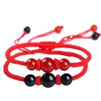 Drop Shipping chinesischer Stil handgemachte glückliche rote String Armbänder Armreifen rot schwarz agates Steinperlen Männer Frauen Paar Armband1 1264 Q2