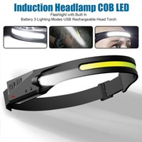 Headlamps Induction Headlamp COB LED Head Lamp With Built-In Battery USB Rechargeable Torch 5 Lighting Modes Light