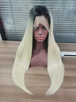 Synthetic Wigs 26Inch 180%Density Ombre Blond Long Straight Lace Front For Women With Baby Hair Daily Wear Glueless Fiber