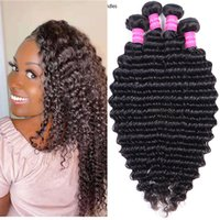 Wholesale 4 Bundles Natural 1B Color Deep Weave Virgin Human Hair Extensions Malaysian Indian Peruvian Brazilian