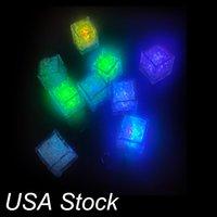 LED Cubo de hielo Multi Cambiando Flash Flash Night Lights Sensor Líquido Sensor Agua Sumersible para Navidad Bodas Club Fiesta Decoración Lámpara de Luz Omled