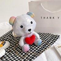 Japanese New 2021 Cute Cartoon Bag Shoulder Girl Chain Fashion Net Red Bear Soft Small Doll Tfcvg