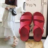 Sandals Spring And Summer Women's Flat Slippers Leisure Students' Simple Muffin Shoes Thick Bottom Net Red Women