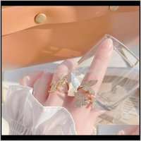 Jewelryins 14K Real Gold Engagement Rings For Women Luxury Zircon Cz Butterfly Adjustable Wedding Cluster Drop Delivery 2021 Ekkst