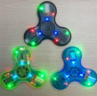 Transparent LED Bluetooth Music Fidget Spinners Speaker Clear luminous Tri Hand Spinners Cube Finger HandSpinner Speakers Decompression Toys