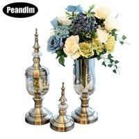 Flor Vaso Candy Jar Desktop Vasos Bronze Cor Vela Stand Casamento De Vidro De Vidro Decoração Presentes Home Suportes