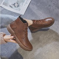 boots martin boot shoes women girls knee autumn Winter 2021 Net red female flat single retro British style ankle casual all-match plus fleec usa uk black brown size 5 4