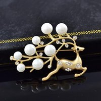 Pins, Brooches Fawn Pearl Brooch Fashion Pin For Women Men Jewelry Accessories Sweater Coat Shawl Buckle Gifts