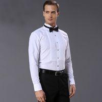 Camicie da uomo in stile francese Qualità moda uomo bianco abito camicia smoking abbigliamento lavaggio e usura finitura per uomo da sposa