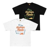 İnsan Yapımı 20AW T-shirt # 2013 Renk Ördek Mektubu Slubby Pamuk erkek ve kadın Kısa Kollu T-shirt