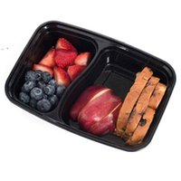 10 pçs / set 2 compartimento refeição preparar plástico recipiente de alimentos almoço bento piquenique eco-friendly com tampa de lancheiras microondas OWA8560