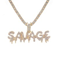 Bling Savage Letter Hanger Shiny Ice Out Chaining with Tennis Chain Choker Hip Hop Jewelry for Men
