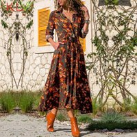 Casual Dresses Long Sleeve Shirt Dress Boho Floral Print Elegant Maxi Spring Summer Holiday Party Fashion Women Clothes Vestidos 20Mar