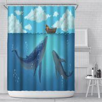 180x180 см Водонепроницаемый душевой занавес мультфильм летающий кит с девушкой ванная комната ванна шторы фермы декор