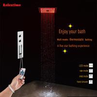 숨겨진 온도 조절 욕실 샤워 꼭지 믹서 욕조 목욕 욕조 세트 노즐 빛 LED 천장 헤드 폭포 세트