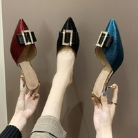 Slippers Vogue Bling Metal Buckle Women Shoes Woman Mules Thin Mid Heels Female Pointed Toe Gold Slipper Casual