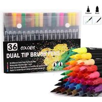 36 Coloring Pens Dual Brush Felt Tip Art Markers for Adult and Kids Books Calligraphy Drawing Note Taking 210909