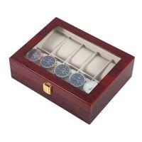 10 Gitter Retro rotes hölzernes Uhren-Anzeigen-Koffer-Durable-Verpackungshalter Schmuck-Sammlung Speicheruhr Organizer-Box-Kasket T200523