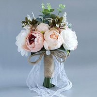 Wedding Flowers Artificial Rose Flower Bouquet For Bride Bridesmaid Party Home Handmade Lace Ribbon Linen Rope Bowknot Girl Toss