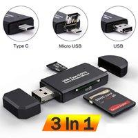 SD Card Reader USB C Card Reader 3 In 1 USB 2.0 TF Mirco SD Smart Memory Card Reader Type C OTG Flash Drive Cardreader Adapter