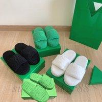 Kadınlar Yeşil Kürk Terlik Havlu Tarzı Kaydırıcılar Klasikler Sıcak Terlik Moda Luxurys Tasarımcılar Loafer'lar Kürklü Slaytlar Dişli Düz Alt Slayt Bayanlar 35-41