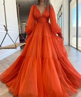 2022 Prom Dresses Long Puffy Sleeves Orange Chiffon Formal Evening Party Gowns Beauty Pageant Dress Custom Made