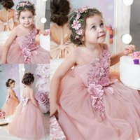 Girl's Dresses 2021 Cute Flower Girl For Wedding Jewel Neck Lace Floral Appliques Tiered Skirts Girls Pageant Dress A Line Kids Birthda