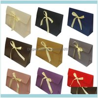 Wrap Event Festive Supplies Home & Garden20 Pack Paper Gift With Bow Ribbon Deluxe Scarf Gloves Hats Jewelry Box Carrier Party Favor Bag Tre