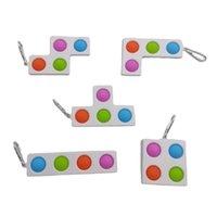 Fidget oyuncaklar basit itme pop baloncuklar popper poo onun kabarcık anahtarlık tetris mozaik kabarcıklar dekompresyon silikon parmak mini anahtarlık HH41RICG