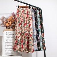 Croysier юбки женские 2021 высокая талия цветочные принты середины теленка длинные плиссированные юбка женские летние женщины старинные элегантные шифон миди юбка
