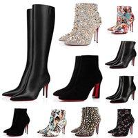 Designer Red Bottoms Buty Kobiety So Kate Ankle Knee High Heels Botki 8 10 12 cm Chunky Pony Swienie Palec Boot Girls Ladies Platform