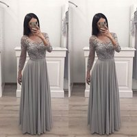 Silver Gray Mother of the Bride Dresses for Wedding Party Long Sleeve Sheer Neck Lace Chiffon Floor Length Women Formal Occasion Evening Prom Gowns