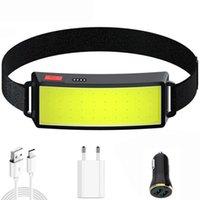 Portable Mini COB Светодиодные фары фары со встроенным батареей USB аккумуляторной головкой лампы Hiking Forich Light Headlamps