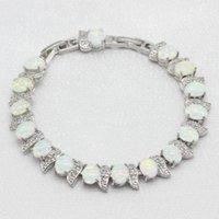 Серебряный цвет белые браслеты опала ювелирные изделия для женщин Party Free подарочная коробка Wpaitkys ссылка, цепь