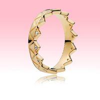 Gelbgold überzogene Frauen Herren Ring CZ Diamant Schmuck Original Box für Pandora Real 925 Silber Geometrische Kronenring Hohe Qualität