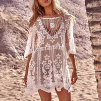 White lace swimsuit cover ups female Summer see through dress cover up women Beach wear Sleeve sexy tunic Swim beach dress1