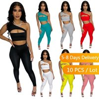 Women's Two Piece Pants Wholesa Items Sexy Summer Set Clubwear Skinny And Hollow Out Crop Top Bodycon 2 Sets Womens Outfits